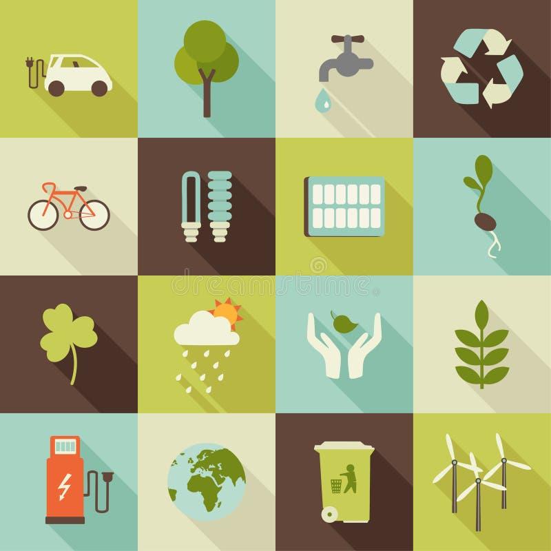 详细eco生态学环境高度图标 皇族释放例证
