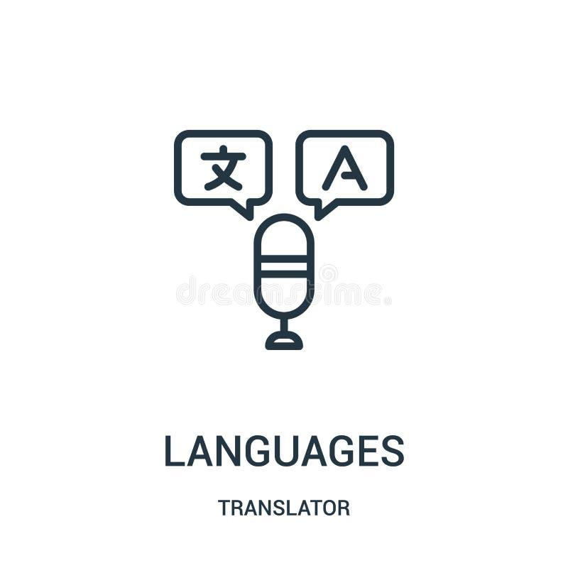 语言从译者汇集的象传染媒介 稀薄的线语言概述象传染媒介例证 线性标志为使用 向量例证