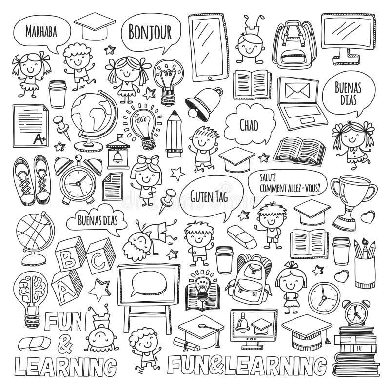 语言学院孩子, chidlren,男孩和女孩 愉快学生学会英语,西班牙语,德语,意大利语,阿拉伯 向量例证