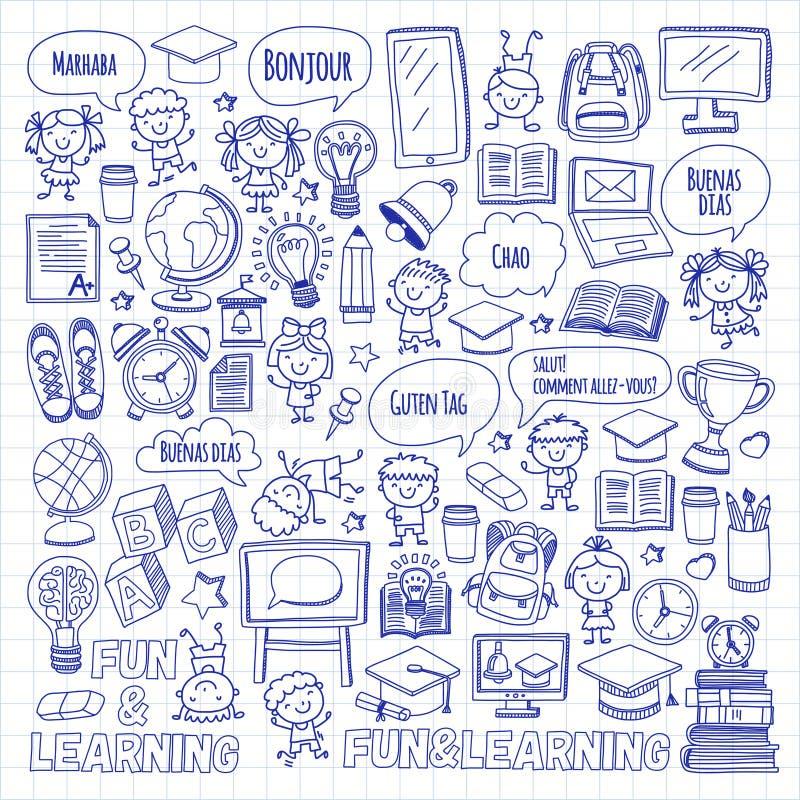 语言学院孩子, chidlren,男孩和女孩 愉快学生学会英语,西班牙语,德语,意大利语,阿拉伯 库存例证