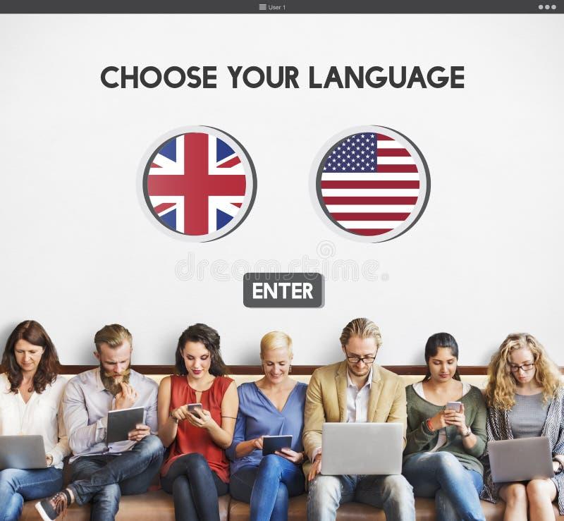 语言词典英国美国概念 免版税库存照片