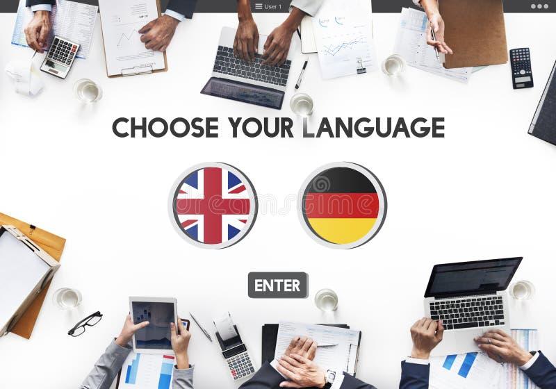 语言词典英语-德语概念 免版税图库摄影