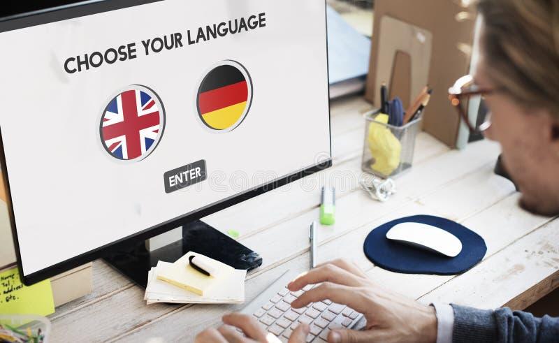语言词典英语-德语概念 图库摄影
