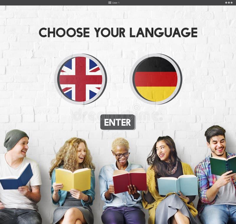 语言词典英语-德语概念 库存照片