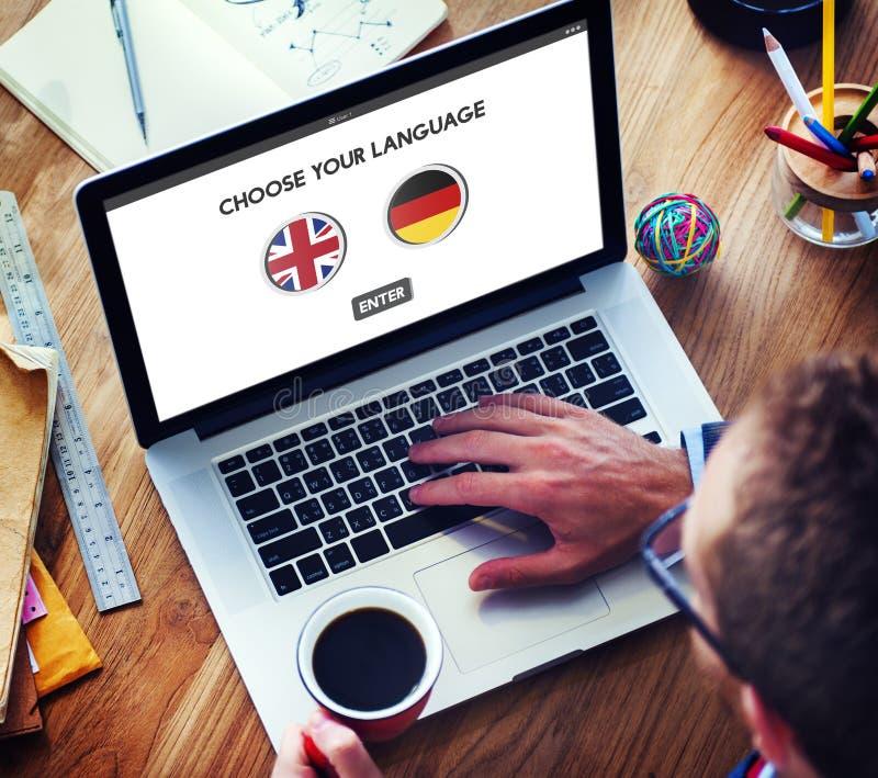 语言词典英语-德语概念 免版税库存图片