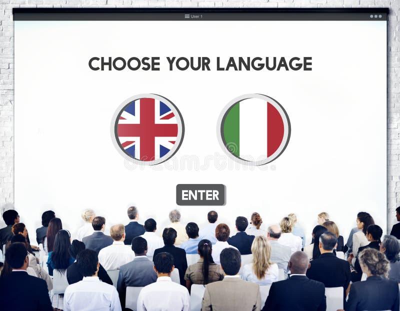 语言词典英语-意大利语概念 免版税库存图片