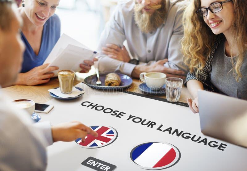 语言词典英语-法语概念 库存图片