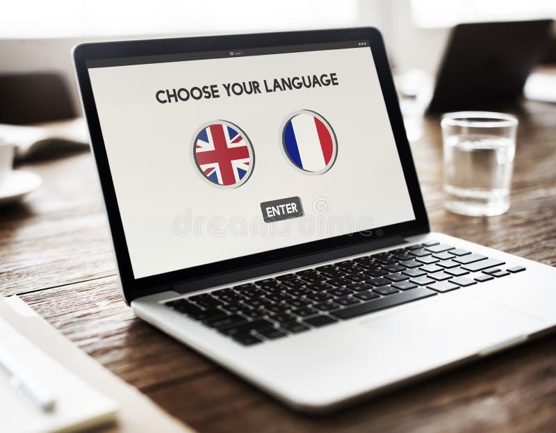 语言词典英语-法语概念 免版税库存照片