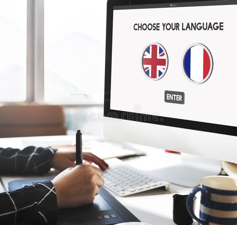 语言词典英语-法语概念 免版税库存图片