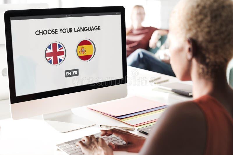 语言词典英语-西班牙语概念 库存照片