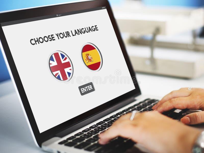 语言词典英语-西班牙语概念 图库摄影