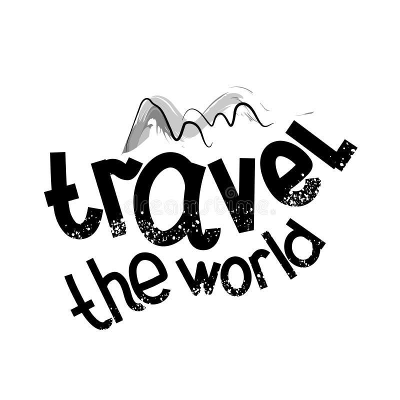 诱导旅行海报和动画片字体 移动世界 也corel凹道例证向量 向量例证
