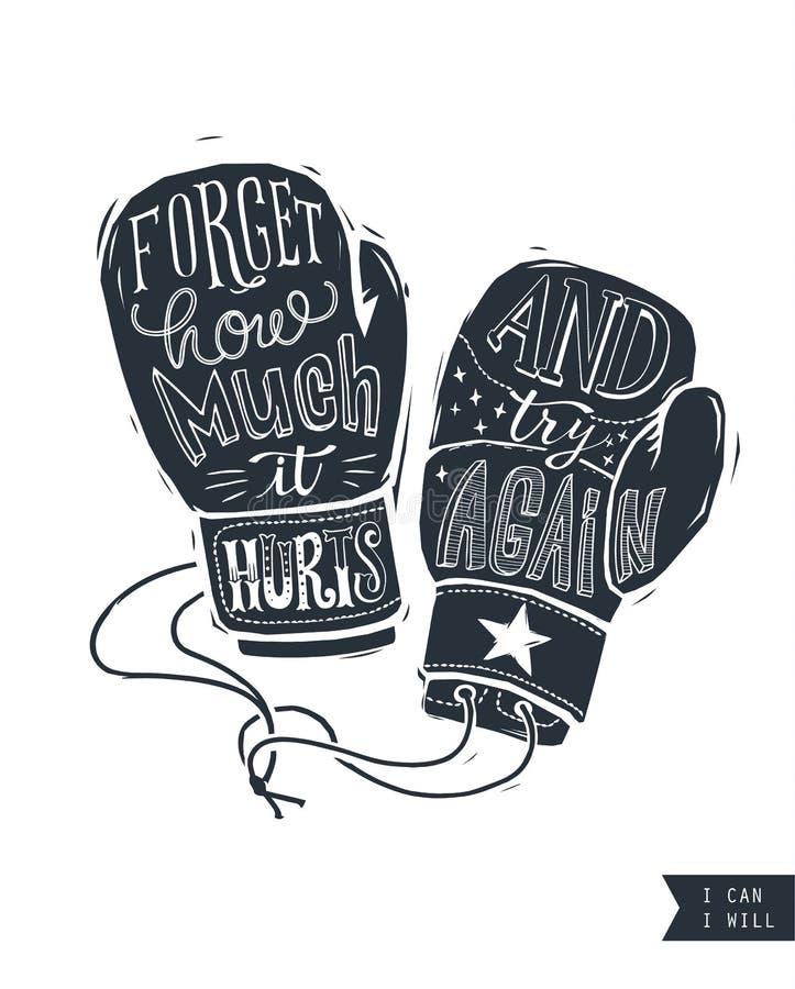 诱导行情手写在拳击手套内剪影  创造性的手字法 坚持、浓缩的耐力和的力量 向量例证