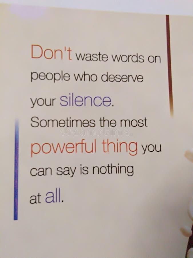 诱导,态度,沈默,力量,伟大 免版税库存图片