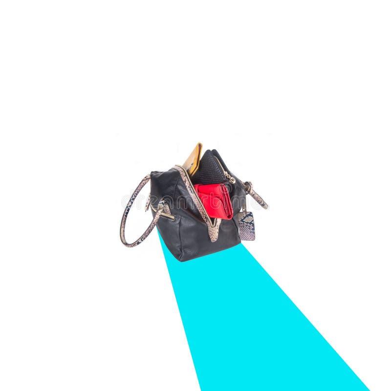 诱饵 在背景的妇女袋子 免版税图库摄影