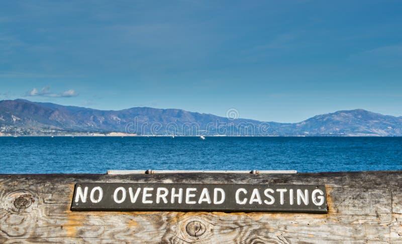 说土气的标志`在一个码头的没有顶上的铸件`在加利福尼亚 免版税库存照片