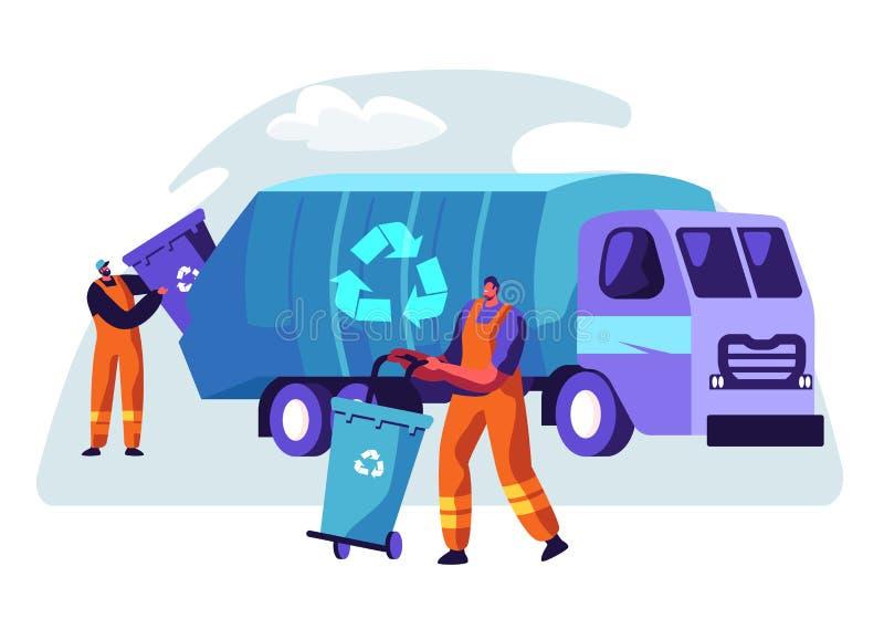 说废话卡车的人清洗的垃圾容器与回收标志 都市废弃物移动服务的卡车 字符收集垃圾箱 库存例证