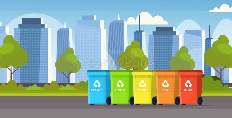 说废话回收站不同分离排序管理环境保护概念的废物的容器 库存例证