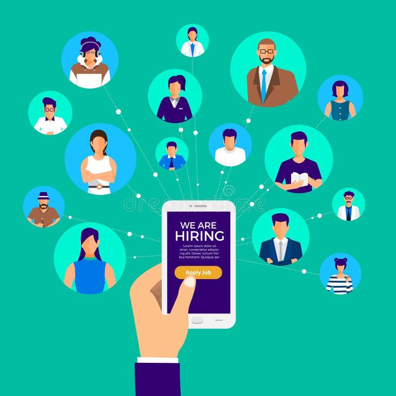 说明设计观念发现的雇员 HR求职 传染媒介说明 向量例证