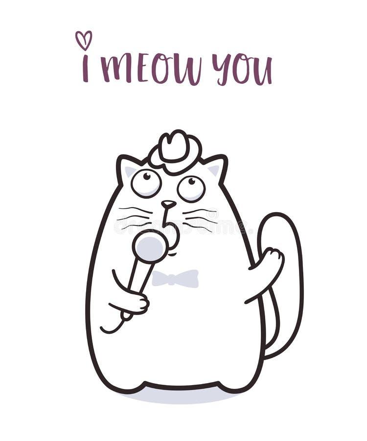 说滑稽的猫贺卡设计的猫叫声 库存例证