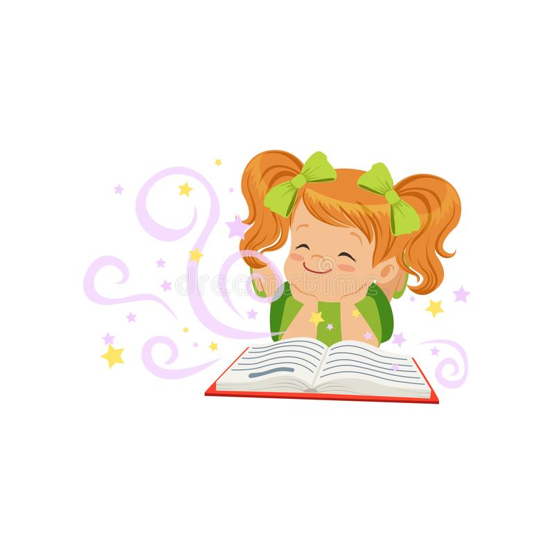 说谎与不可思议的童话书和梦想的小孩  儿童想象力概念 平的女婴字符 向量例证