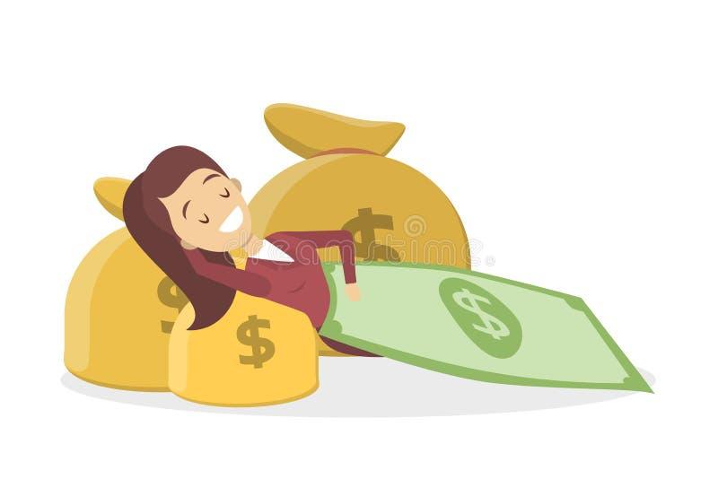 说谎与金钱袋子的女实业家 捆绑美元查出大成功我们财富 库存例证