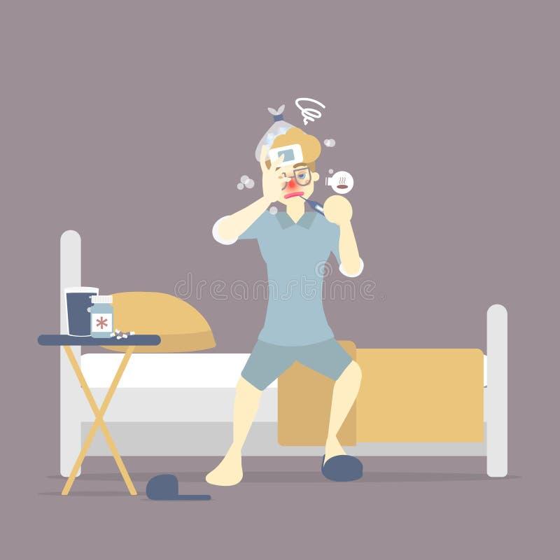 说谎在与温度计,医学的床上的人,有感冒和鼻涕,热病流感流行性感冒,冬天,雨季,医疗保健 皇族释放例证