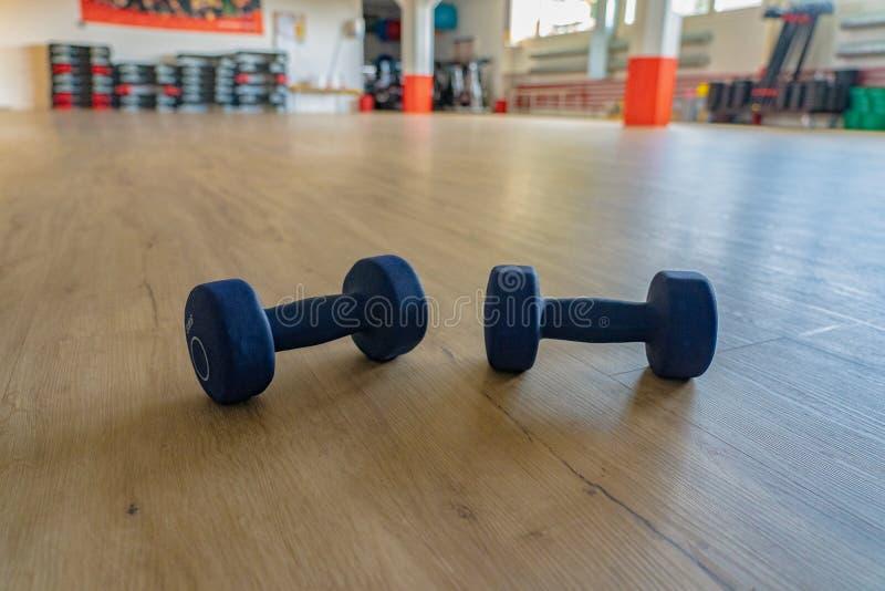 说谎在健身房大厅的地板上的淡紫色哑铃 免版税库存照片