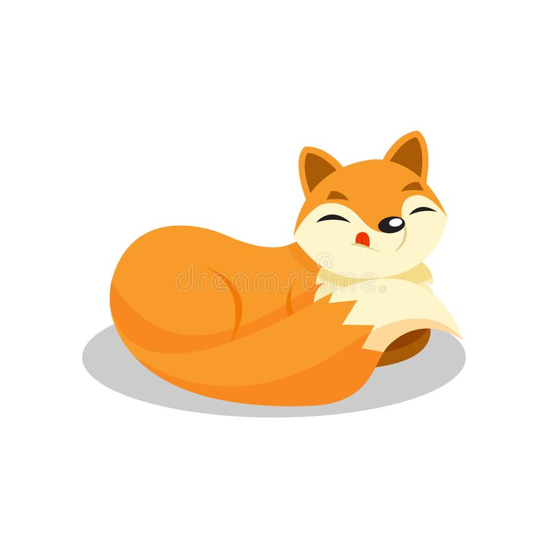 说谎在地板上的逗人喜爱的小的狐狸卷起了,在白色背景的滑稽的小狗漫画人物传染媒介例证 库存例证