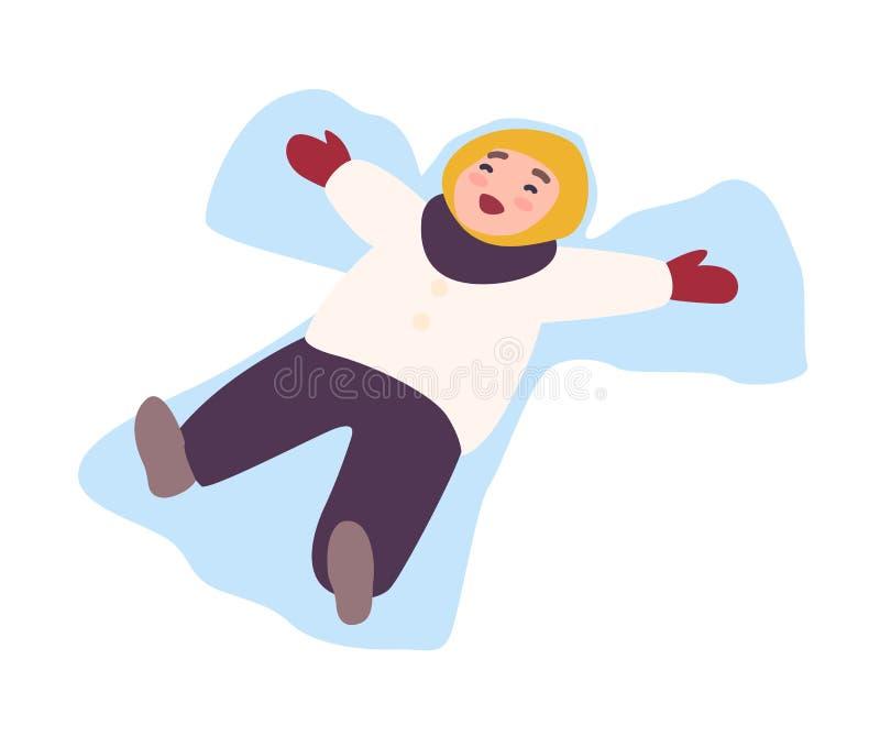 说谎在地面和做的笑的孩子雪天使 孩子的招待的冬天活动,童年比赛 愉快 库存例证
