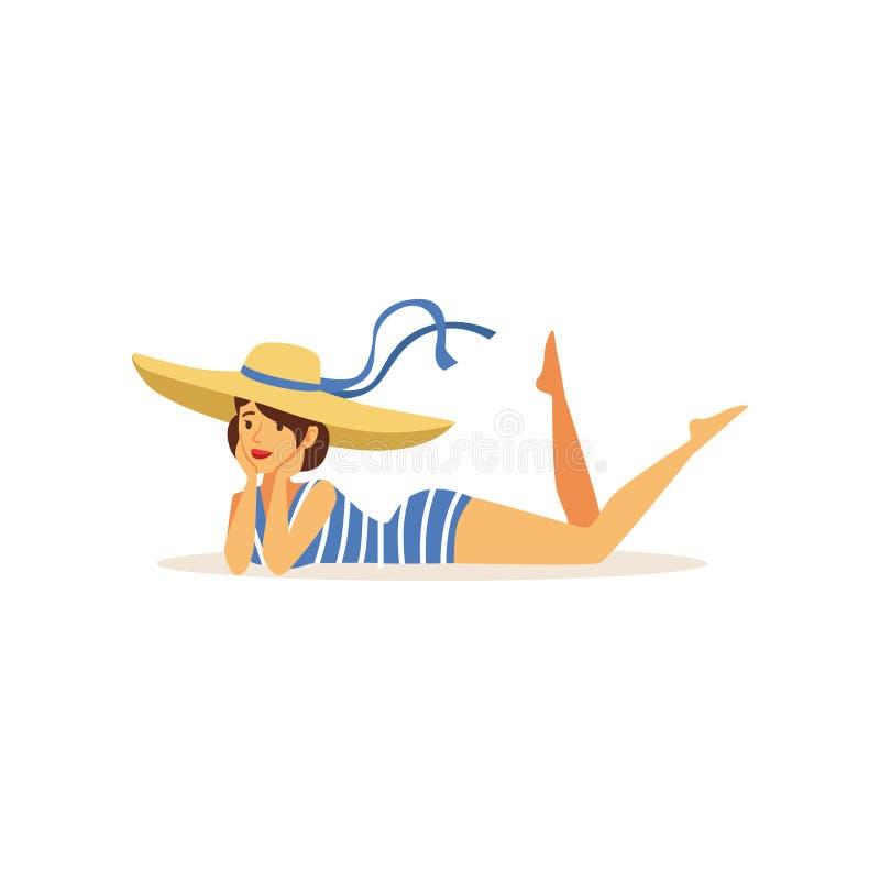说谎在她的胃的泳装和草帽的,女孩美丽的少妇在减速火箭的样式传染媒介例证穿戴了 库存例证