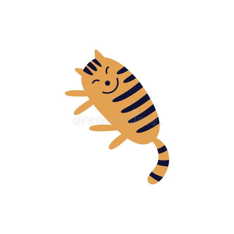 说谎在它的旁边平的动画片样式的逗人喜爱的微笑的平纹红色猫 向量例证