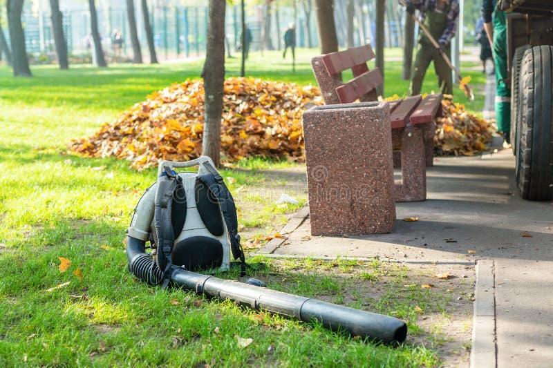 说谎在干净的草的耐用叶子吹风机在城市公园在秋天 季节性叶子清洁和撤除服务在秋天 免版税库存照片