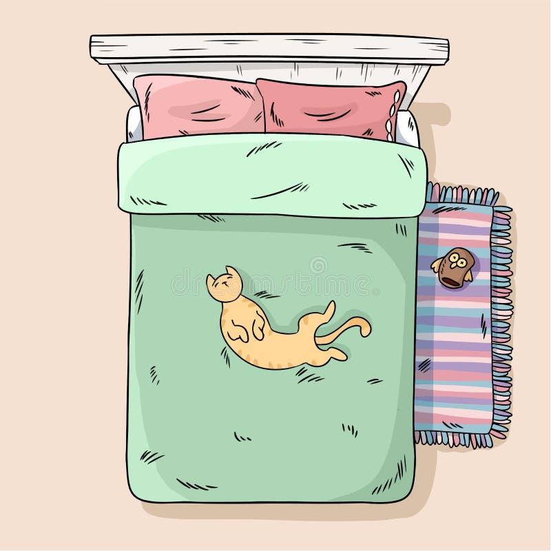 说谎在床腹部的逗人喜爱的猫  r 动画片样式图象 皇族释放例证