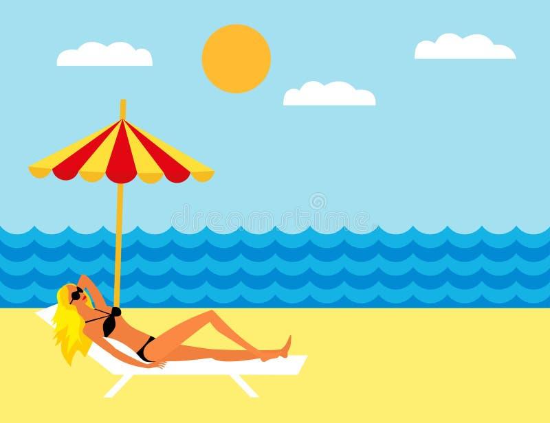 说谎在海滩的女孩在伞下 晒日光浴在海滩的一deckchair的女孩 向量例证