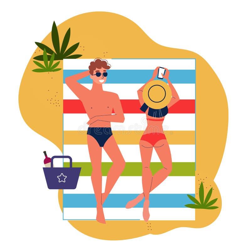 说谎在海滩的男人和妇女夫妇 库存例证