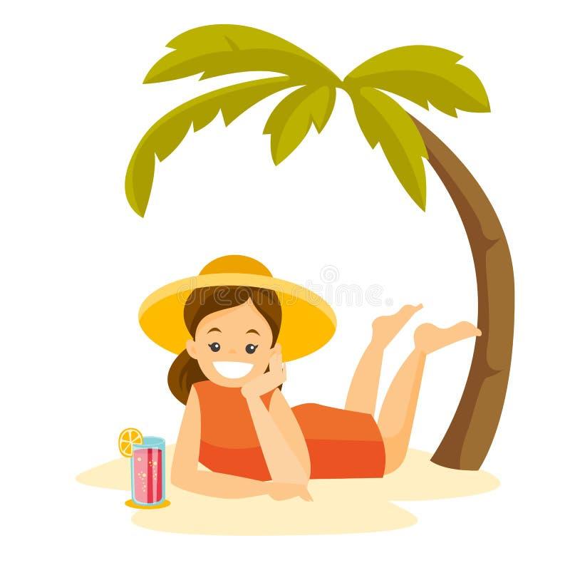 说谎在海滩的白种人妇女在棕榈下 库存例证