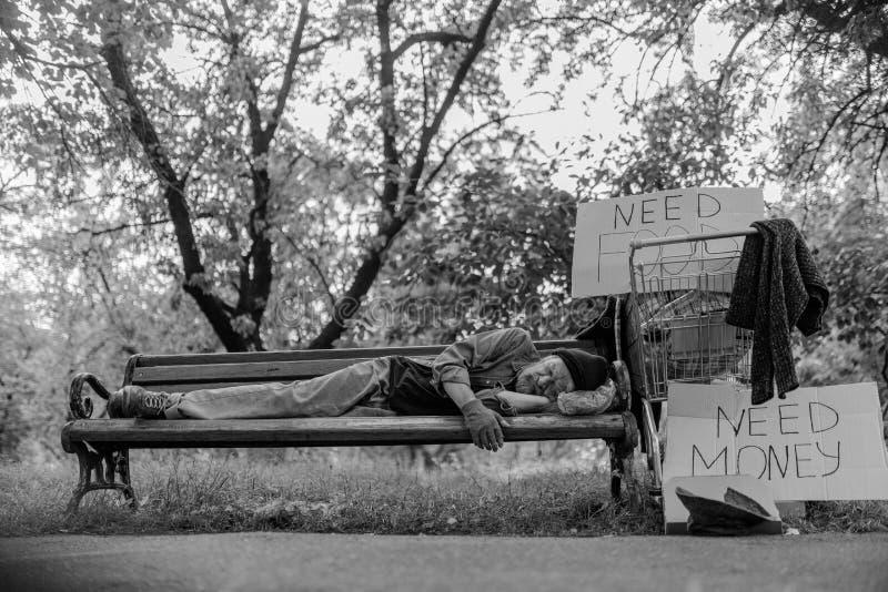 说谎在长凳的无家可归的人黑白画象 库存图片