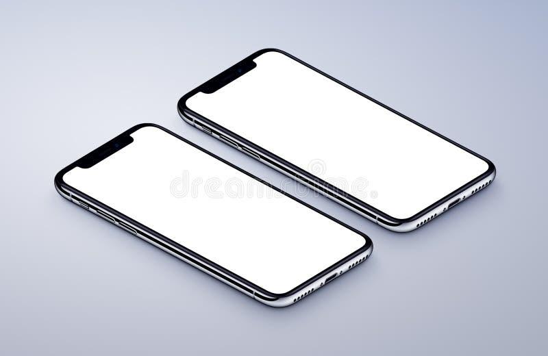 说谎灰色表面上的两透视智能手机大模型前方 向量例证