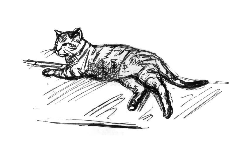 说谎的猫剪影 免版税库存图片