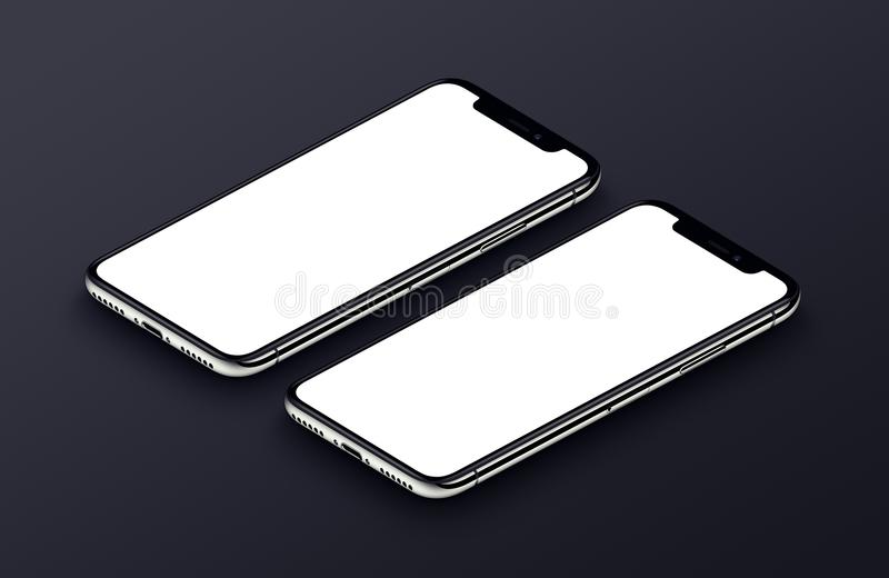 说谎黑表面上的两透视智能手机大模型前方 库存例证