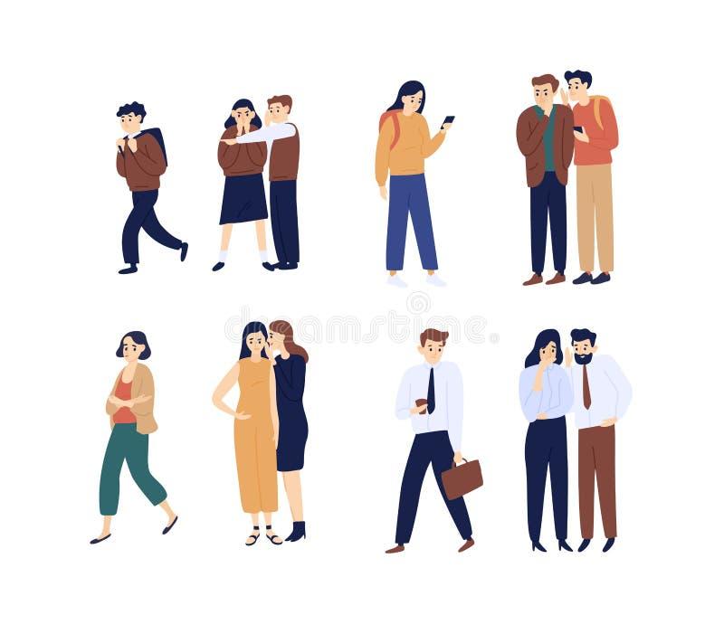 说闲话的男人的汇集和的妇女,传播的谣言,谈话和耳语 捆绑滑稽的卡通人物 库存例证