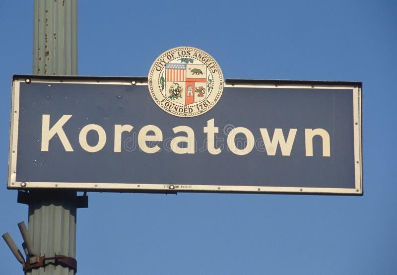 说Koreatown的城市符号 库存照片