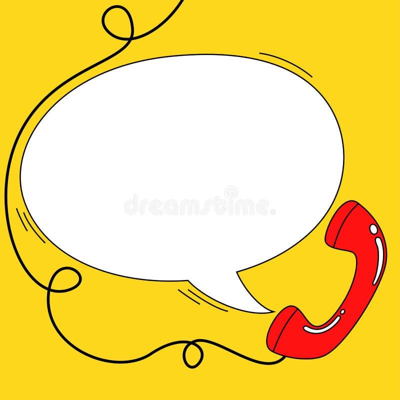 请与与电话接收器和讲话泡影的主题的横幅联系 库存例证
