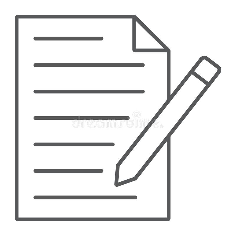 请与形式稀薄的线象,纸和笔,空白联系 向量例证