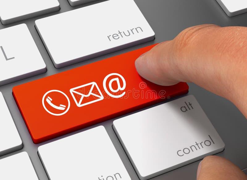 请与推挤有手指3d例证的象联系键盘 皇族释放例证