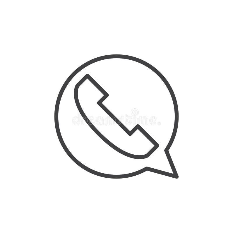 请与联系,电话泡影线象,概述传染媒介标志,在白色隔绝的线性样式图表 皇族释放例证