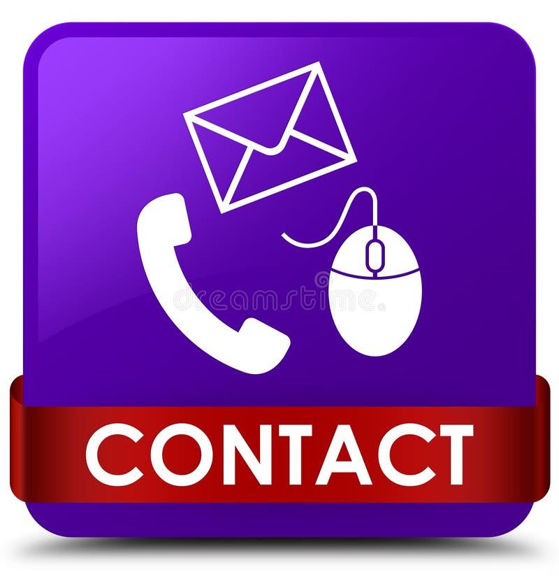 请与(电话电子邮件和老鼠象)紫色方形的按钮红色ri联系 向量例证