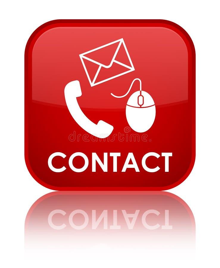 请与(电话电子邮件和老鼠象)红色特别方形的按钮联系 库存例证