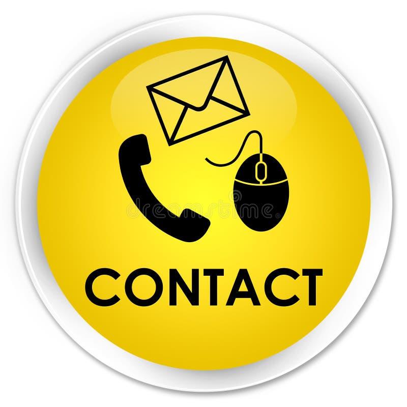 请与(电话电子邮件和老鼠象)黄色优质圆的按钮联系 皇族释放例证
